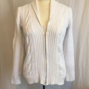 Chaps white cable knit zip up sweater size Medium